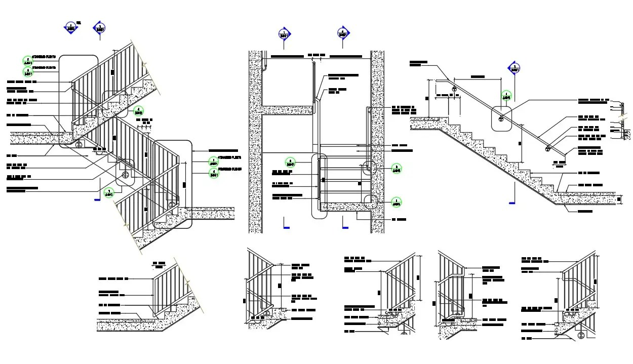 Typical stairs details of section and elevation of hotel