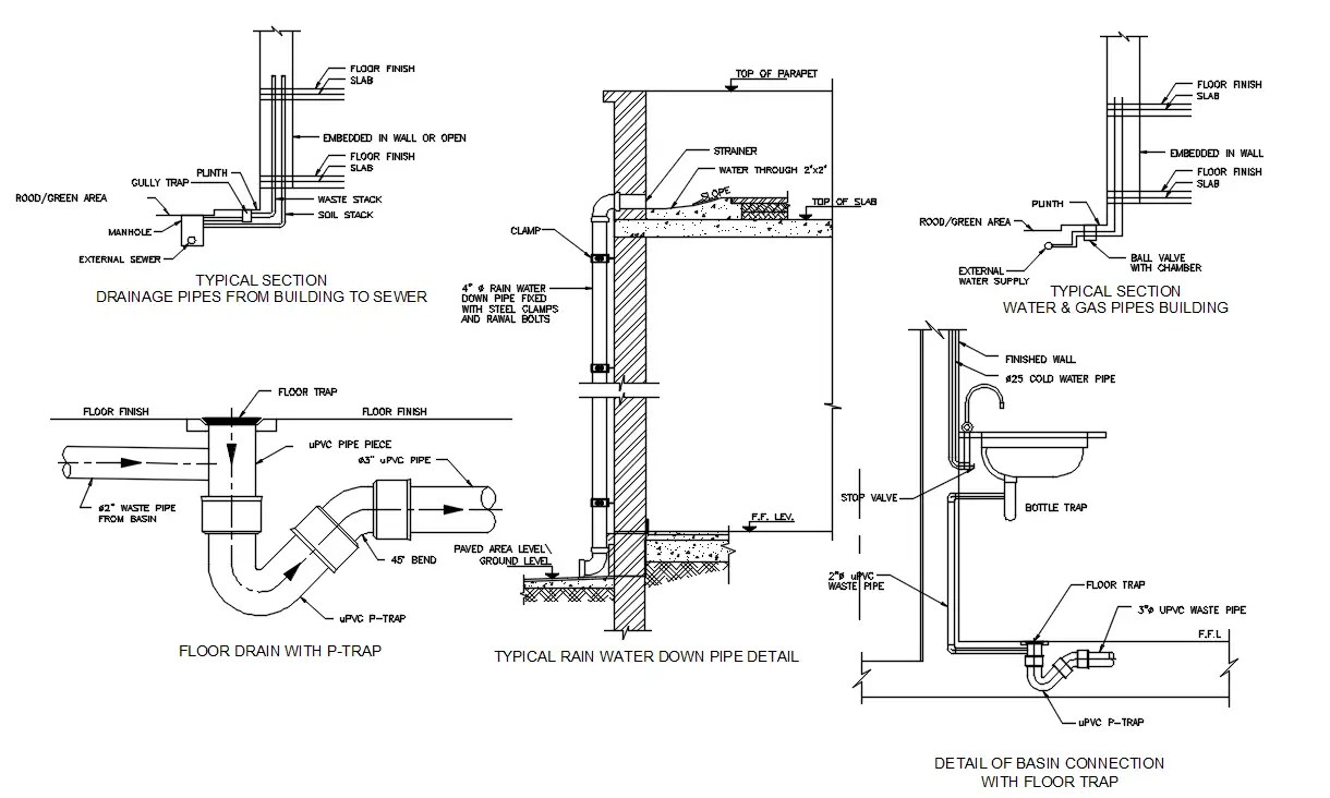 Water And Drainage Plumbing Pile Line Section CAD Drawing