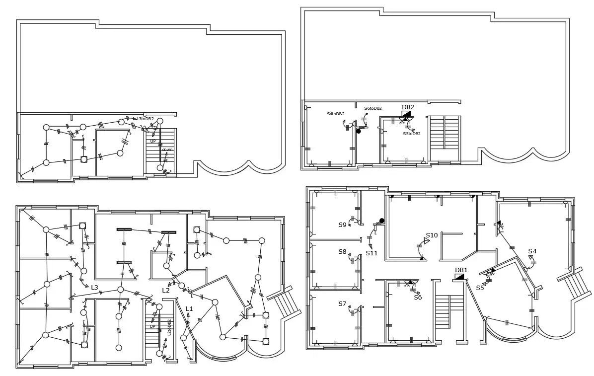 Working Drawing Bungalow Electrical Floor Plan DWG File