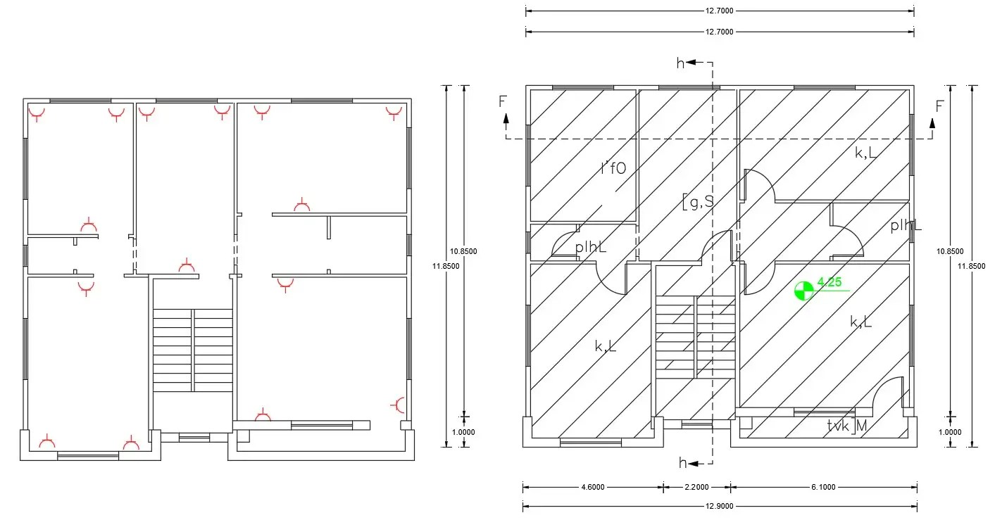 Working Drawing Bungalow Plan And electric Plan CAD File