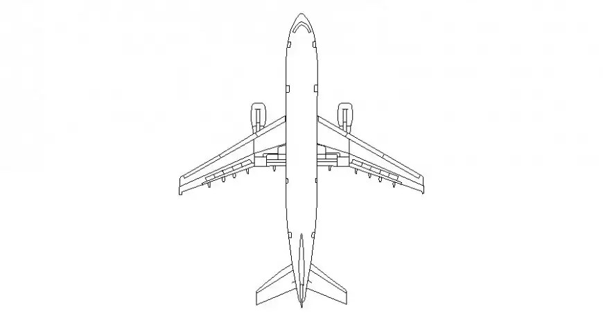 Airplane drawings detail 2d view elevation autocad