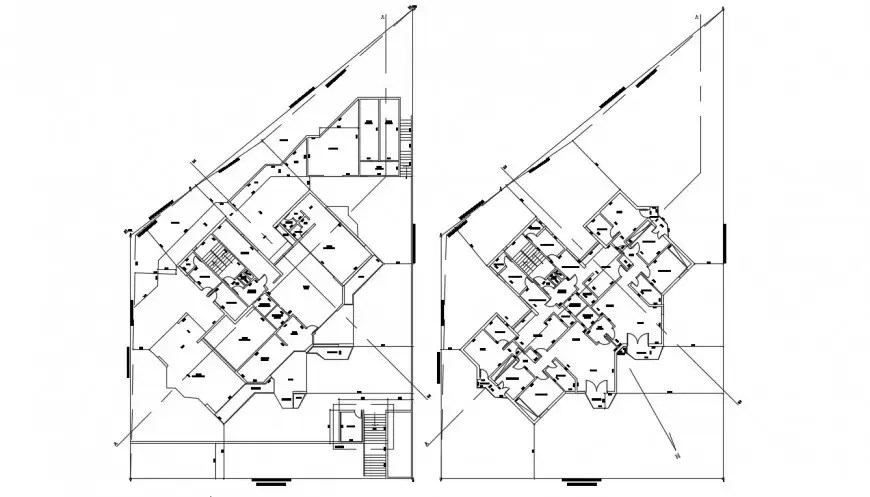 Apartment bulding block plan of 2d drawing of autocad