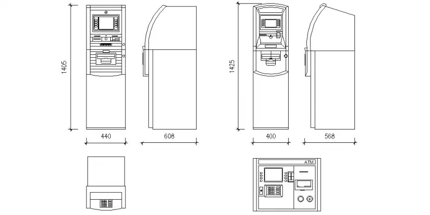 ATM machine design with plan and side view with part of
