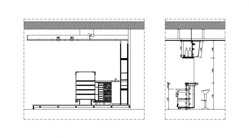Bar counter section and furniture cad drawing details dwg