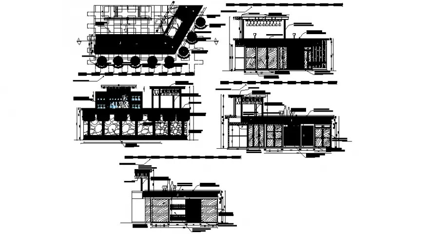 Bar restaurant 2d view elevation of furniture dwg file