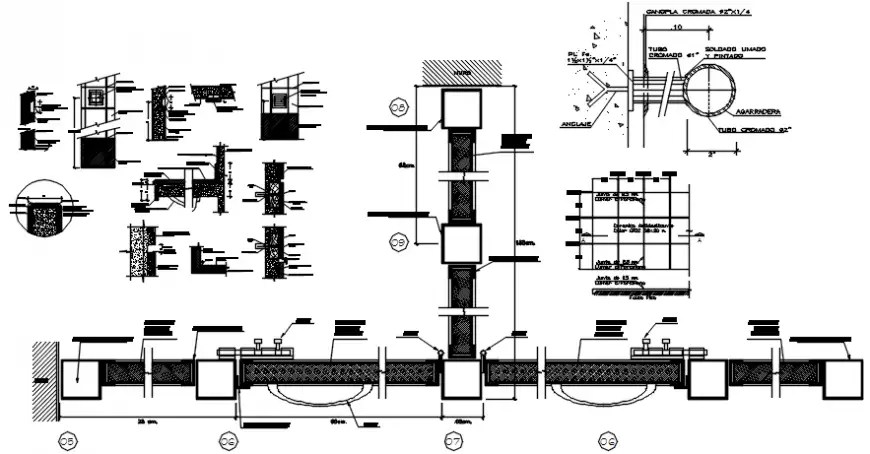 Bathroom plumbing structure and construction cad drawing