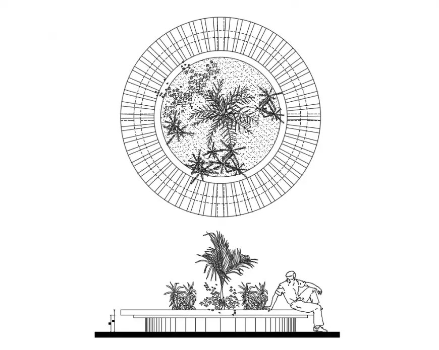 Bench planter elevation of garden cad drawing details dwg