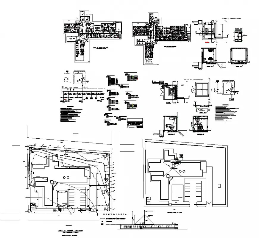 Building detail plan and elevation electrical installation