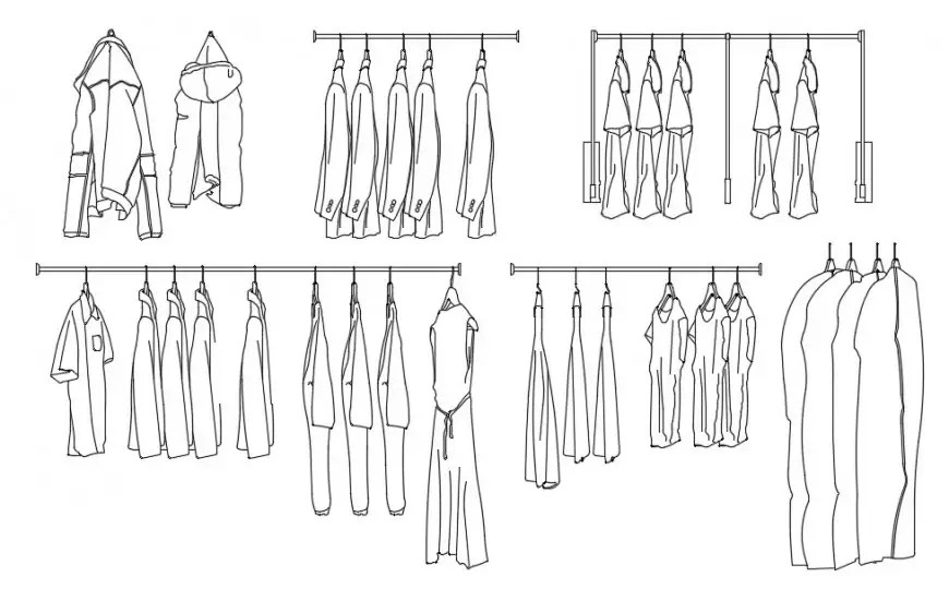 CAd drawings details of top elevation of jackets hanging