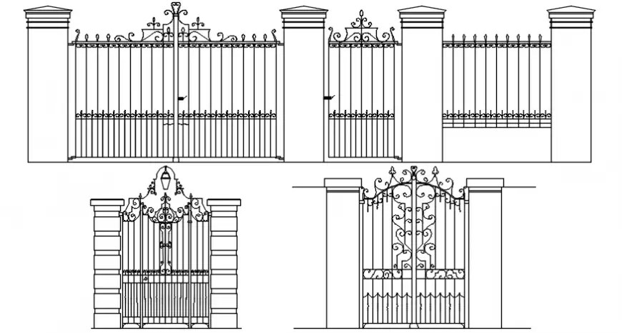 CAD drawings details of entrance gate design 2d view dwg