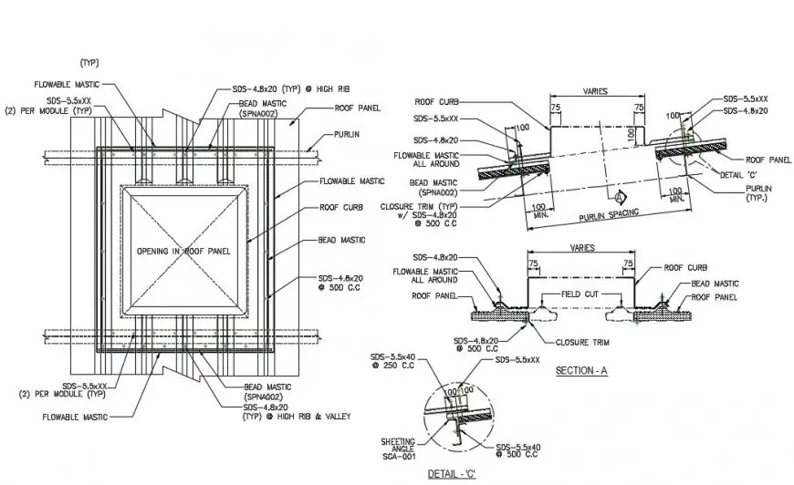 CAD drawings details of roof panel units 2d view dwg file