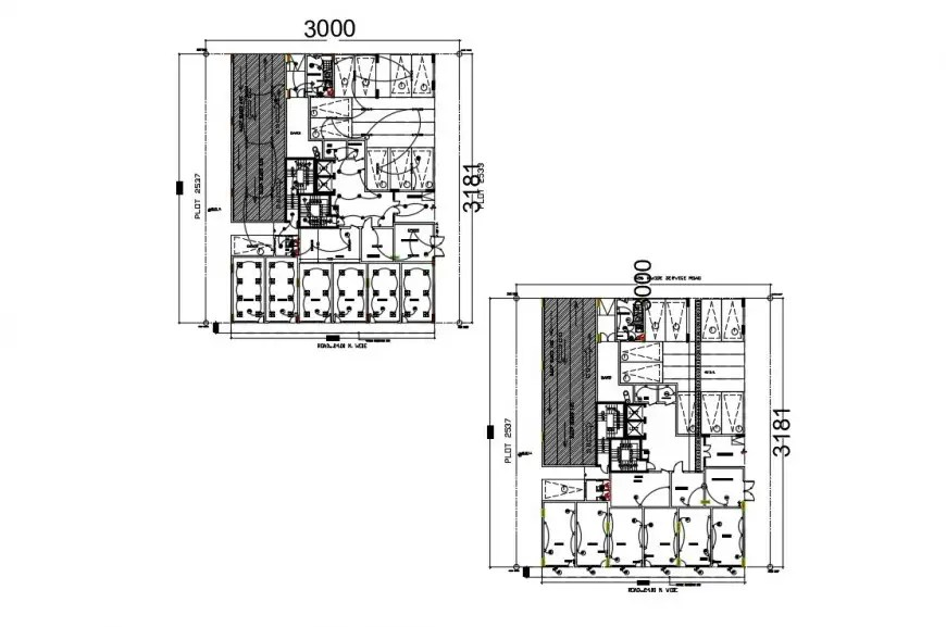 CAD plan detailing drawings of building electrical layout