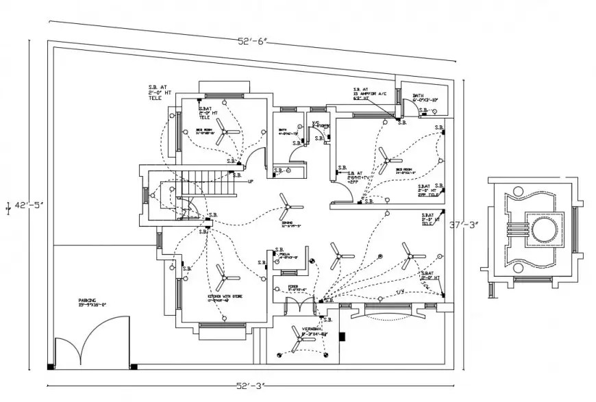 Ceiling electrical installation layout plan cad drawing