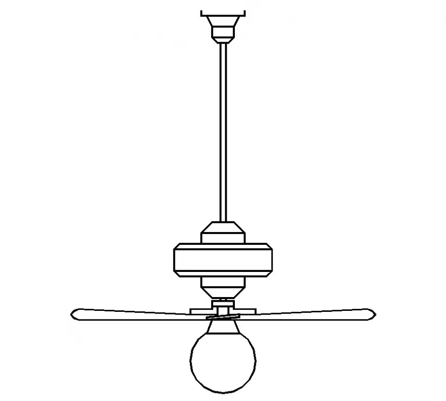 Ceiling fan design with part of electrical design dwg file