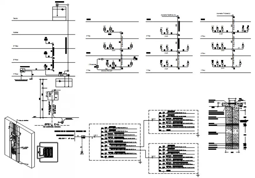 Circuit diagram of house electrical installing in AutoCAD