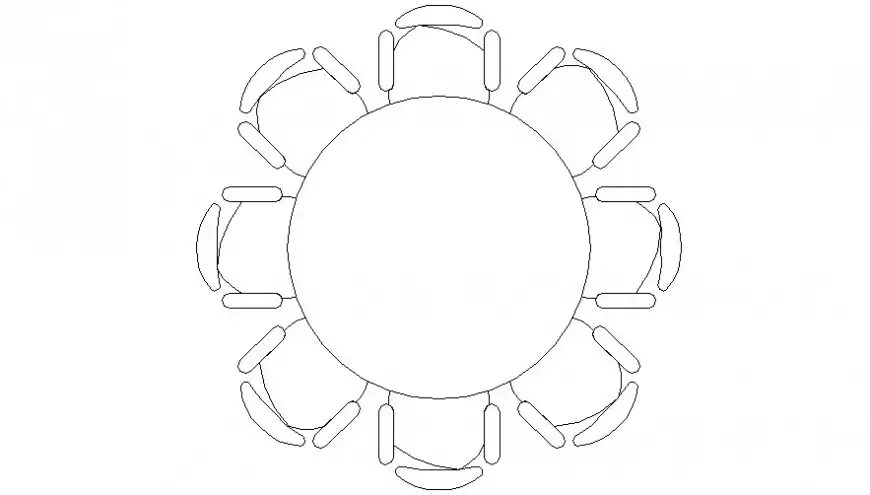 Circular shape table with chair drawings 2d view elevation