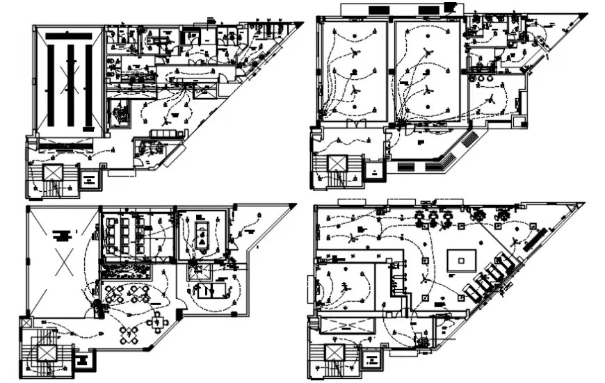 Clubhouse floor plan with electrical installation cad