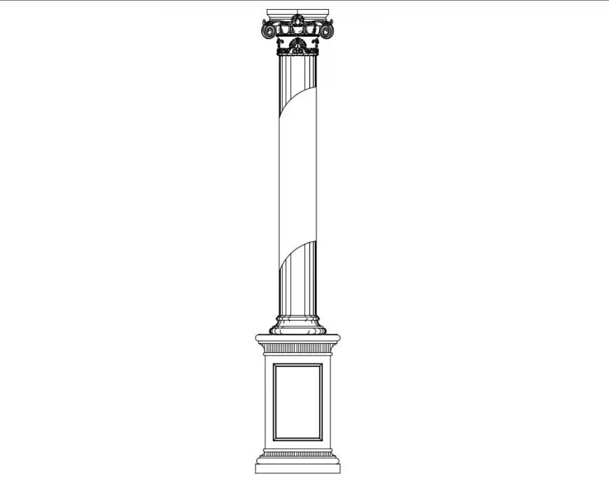 Column front view elevation cad block design dwg file