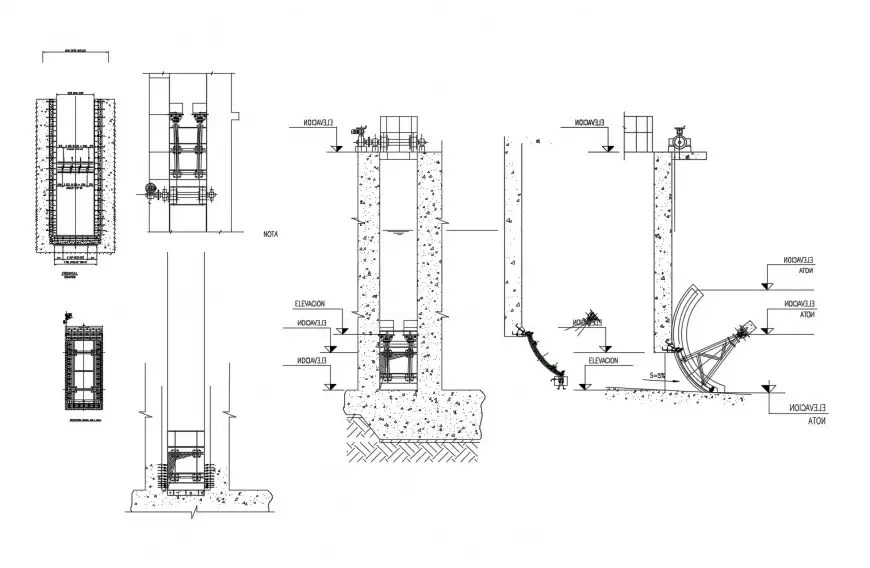 Computer radial machine elevation, section, plan and