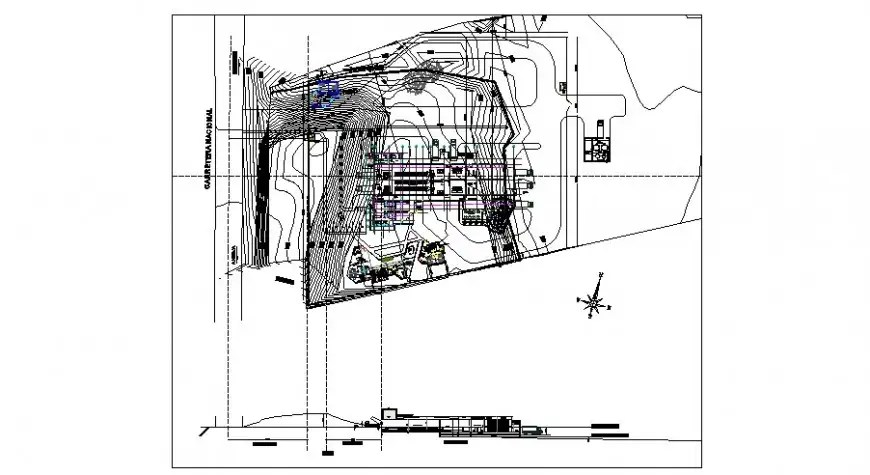 Contour planning and building elevation drawing 2d view