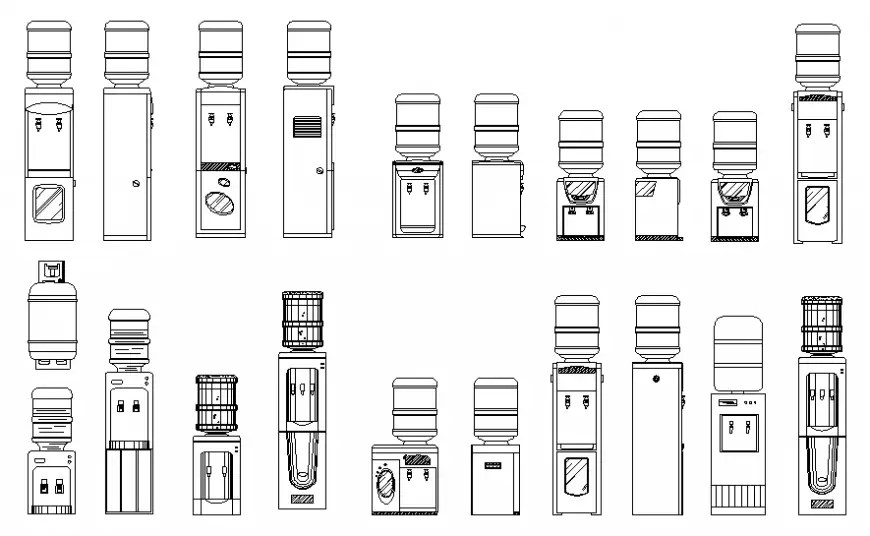 Creative water coolers elevation blocks cad drawing