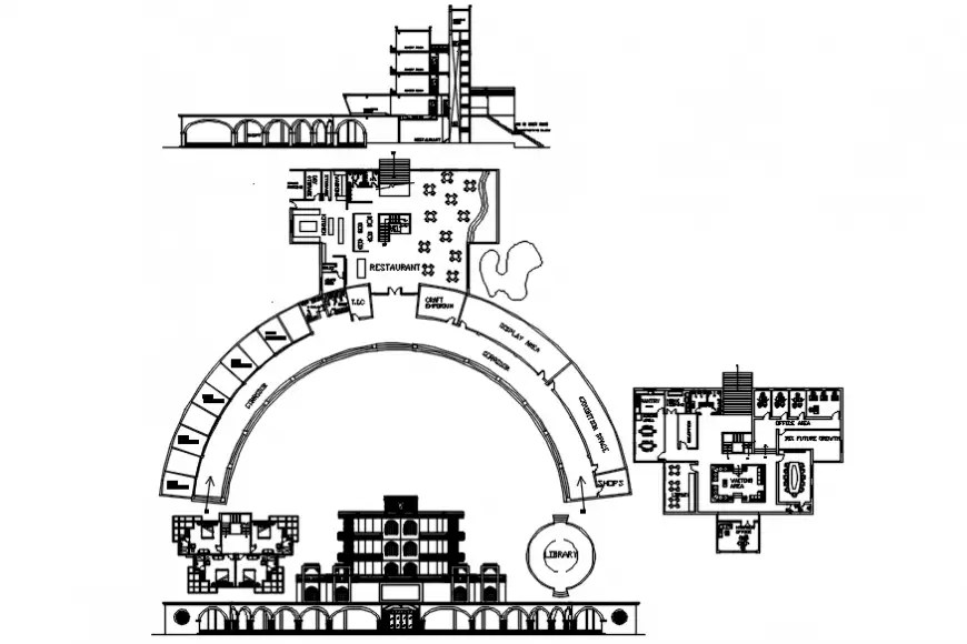 Cultural Centre plan and elevation in AutoCAD software