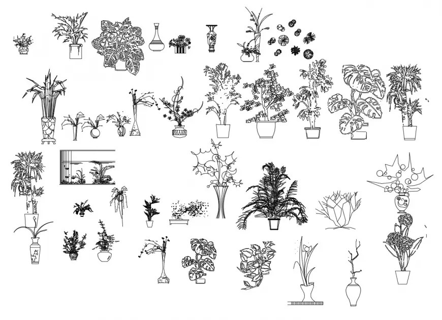 Decorative multiple plants with flower pot blocks cad