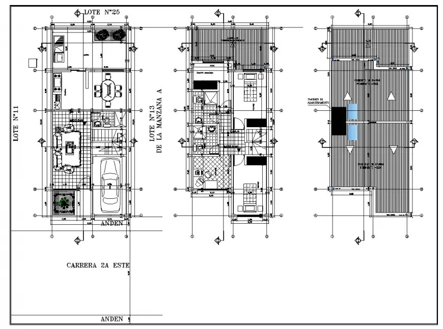 Detail 2d plan of housing block layout file in autocad