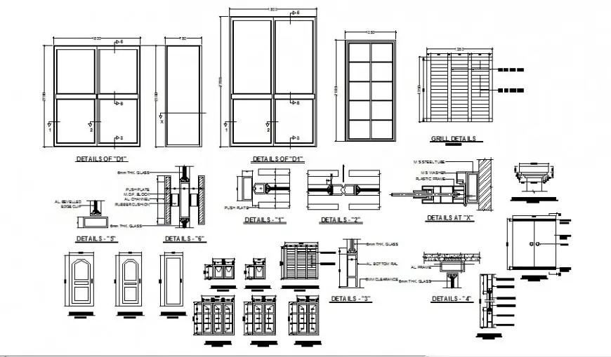 Door, window and grill block detail 2d view CAD block