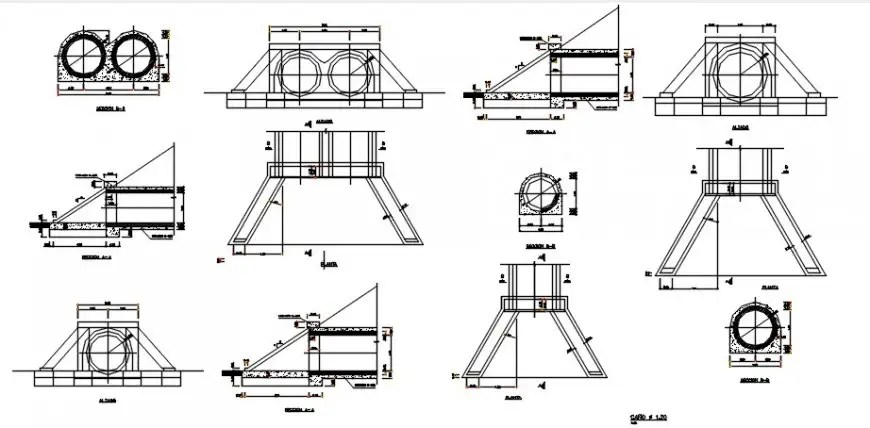 Drainage sewer sections and plumbing structure details dwg