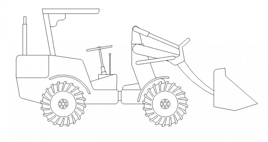Drawing of excavator machinery units 2d view in AutoCAD