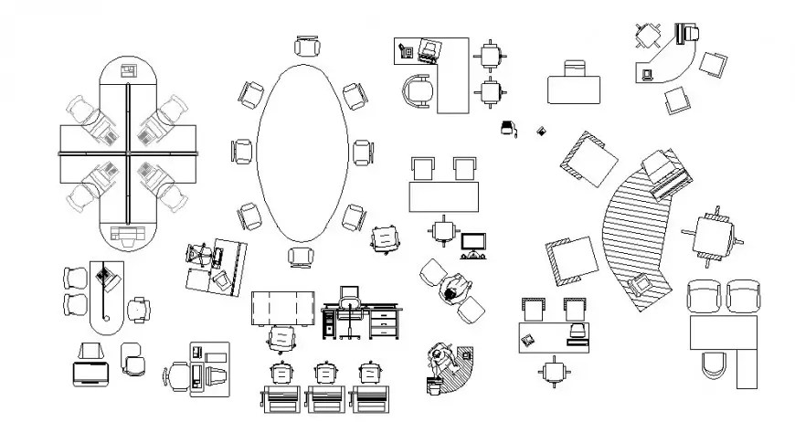 Drawings details of furniture units block dwg 2d view