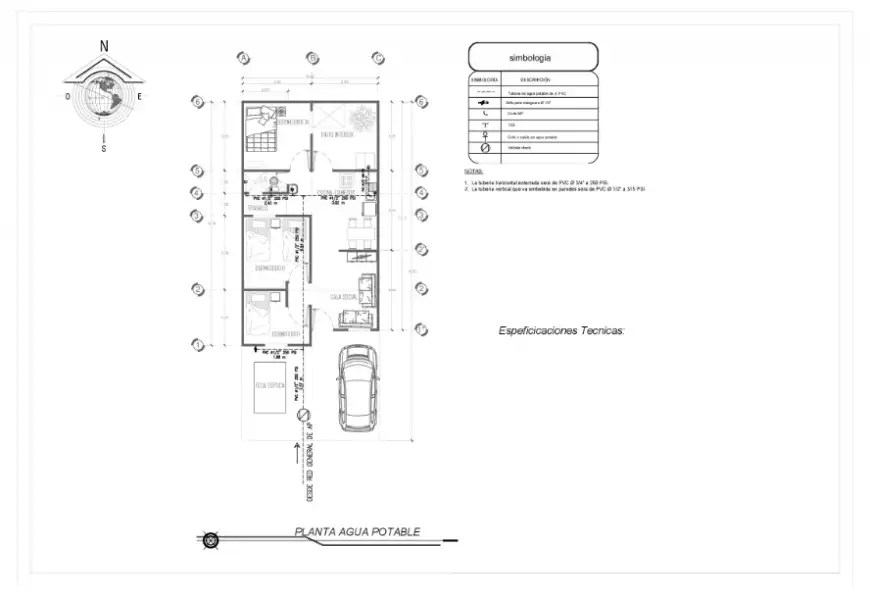 Drinking water line layout Plan design of progressive