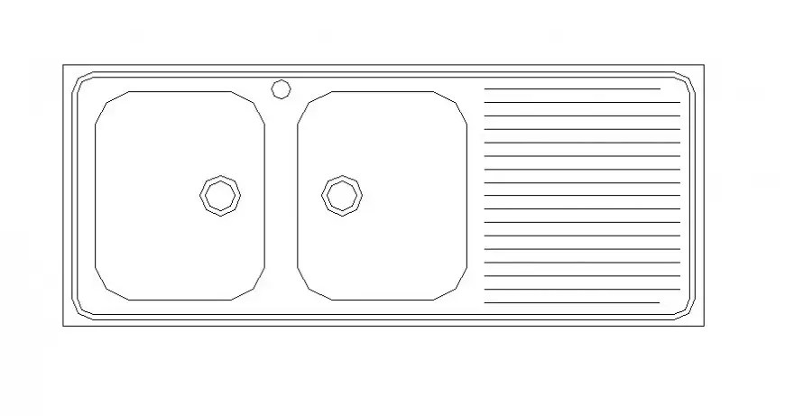 Dual kitchen sink drawings 2d view automation units