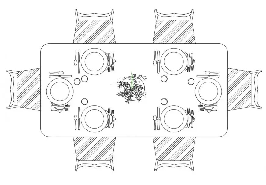 Dynamic dining table top view elevation cad drawing