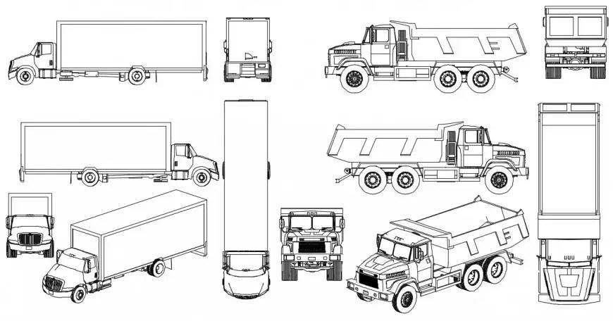 Dynamic transportation truck elevation blocks cad drawing