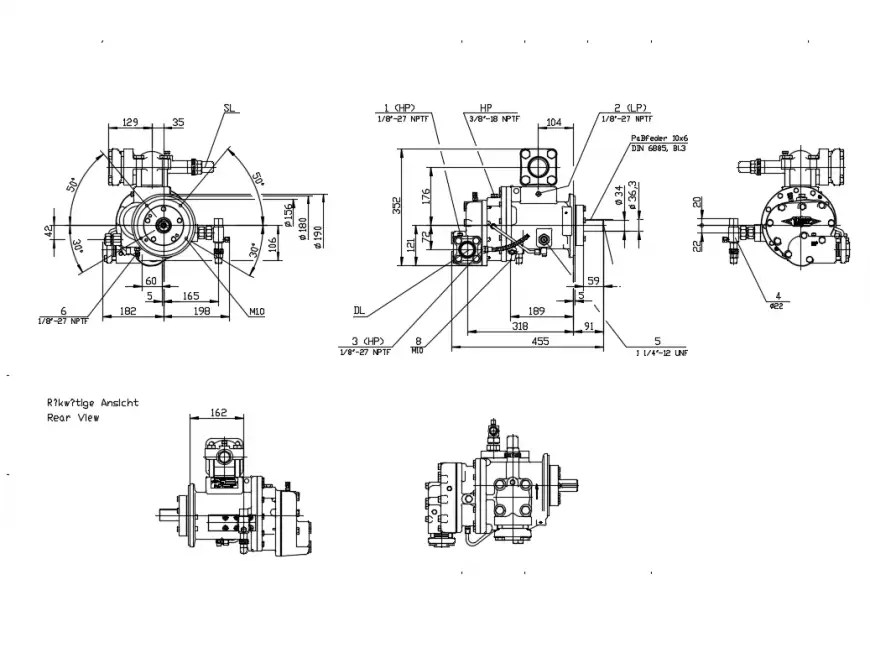 Electric compressor elevation and section cad drawing
