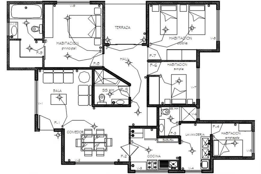 Electrical installation and layout plan drawing details of