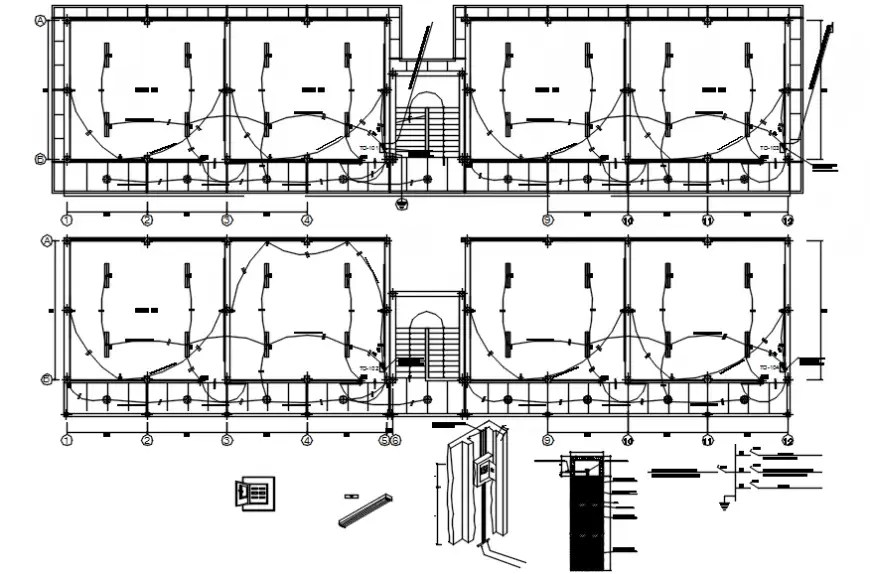 Electrical installation details of education building dwg