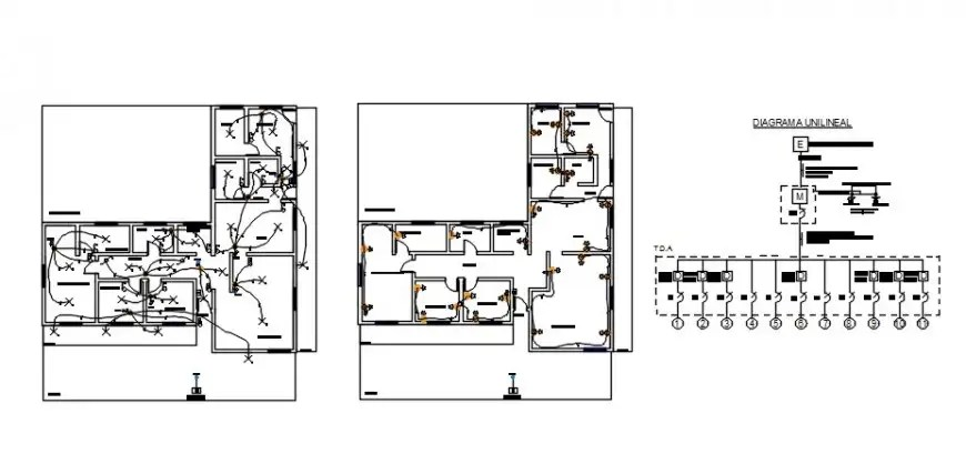 Electrical installation layout and riser diagram drawing