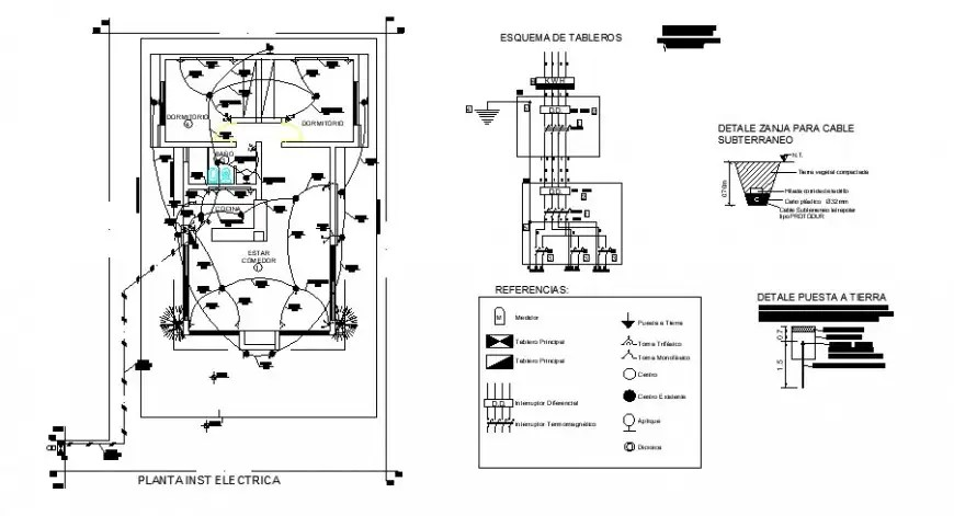 Electrical installation layout plan and house plan cad