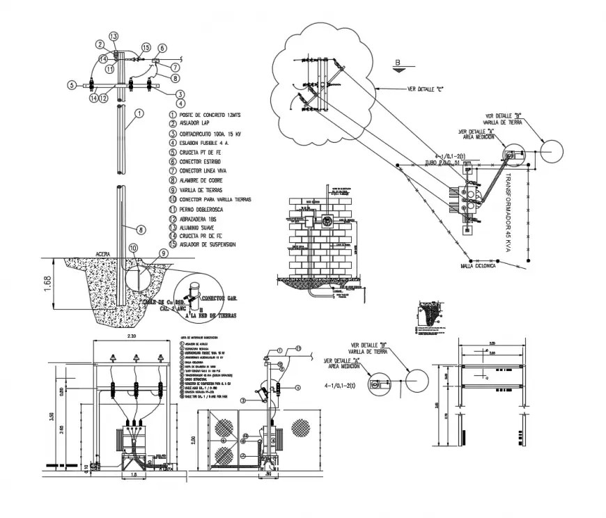 Electrical lamp post blocks detail 2d view CAD automation