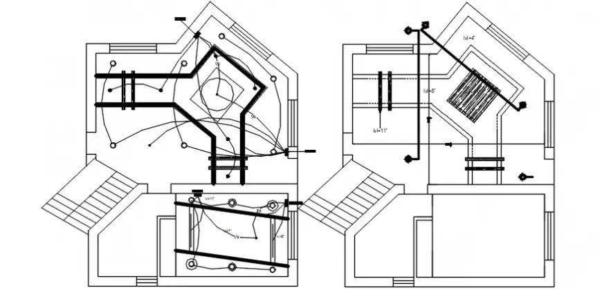 Electrical layout details in building 2d view autocad