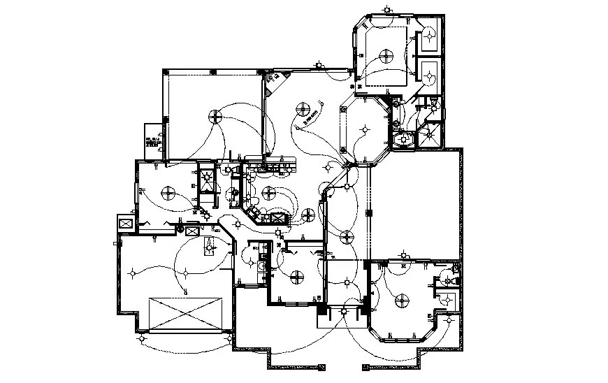 Electrical layout plan details of ground floor of house