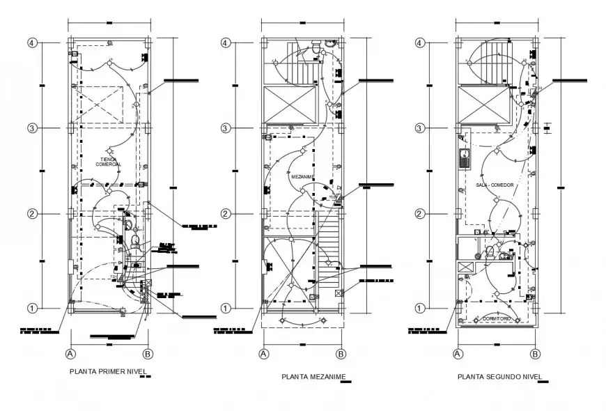 Electrical layout plan details of three story multi-family