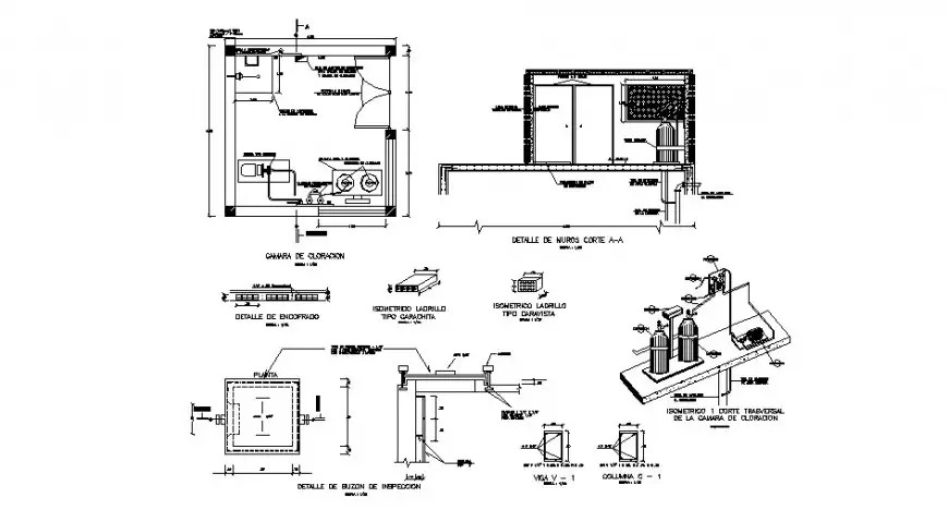 Electrical machinery room detail 2d view layout plan and
