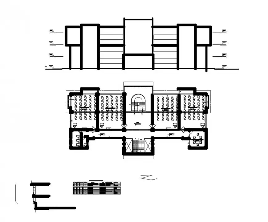 Electrical mechanical college front section and floor plan