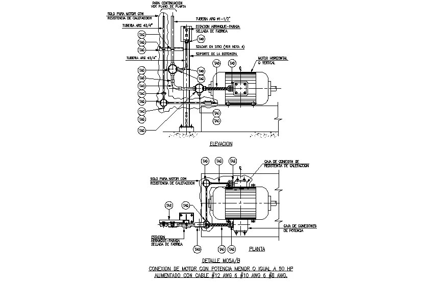 Electrical motor elevation, plan and electric installation