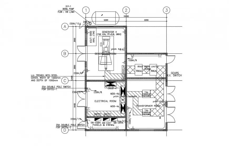 Electrical room plan drawings 2d view dwg autocad file
