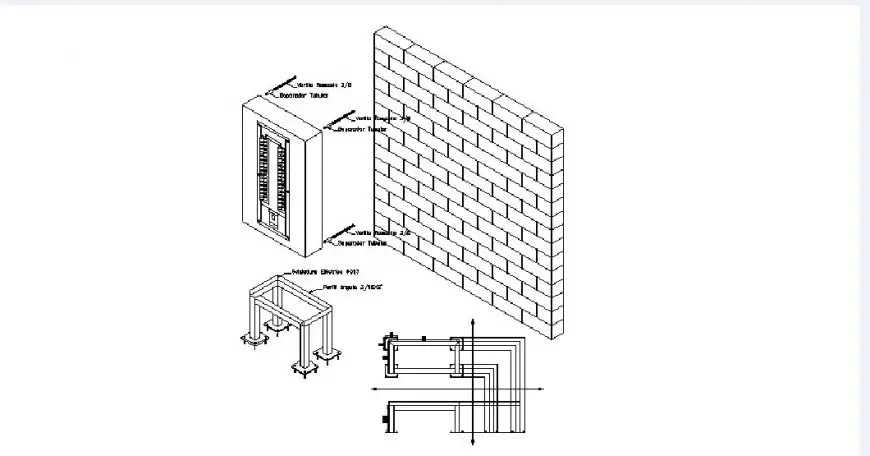 Electrical table elevation, section and installation cad